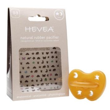 Hevea Natural Rubber Pacifier, 0-3 Months, Star & Moon, 1 ea