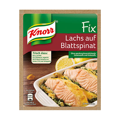 Knorr® Fix For Salmon On Spinach Leaves