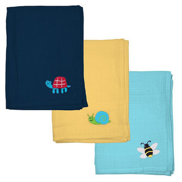 Green Sprouts by i play. 3-pk. Embroidered Muslin Multipurpose Baby Wipes (Navy/Green/Yellow)