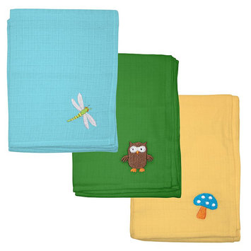 Green Sprouts by i play. 3-pk. Embroidered Muslin Multipurpose Baby Wipes (Blue/Green/Green/Yellow)