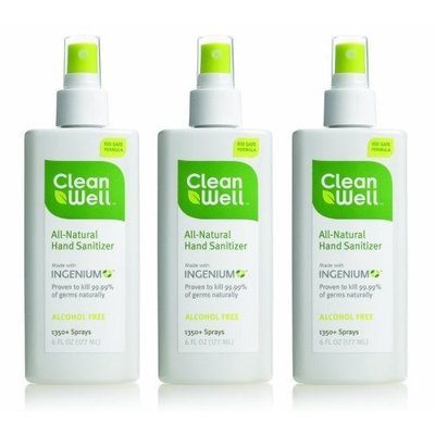 Cleanwell Natural Hand Sanitzer, 6-Ounce Spray Bottles (Pack of 3)