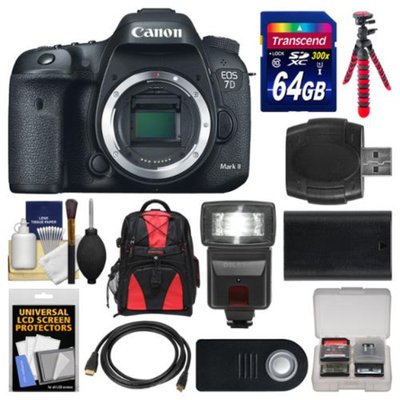 Canon EOS 7D Mark II GPS Digital SLR Camera Body with 64GB Card + Backpack + Flash + Battery + Tripod + Remote + Kit