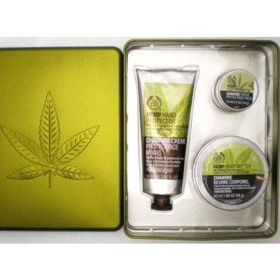 The Body Shop Hemp .04oz Mini Foot Cream, 3.3oz Hand Protector and 1.69oz Body Butter in Decorative Metal Leaf Tin -