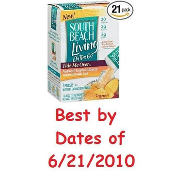 Natural Tropical Breeze South Beach Diet Tide Me Over On-the-Go Tropical Breeze Nutrient Enhanced Drink Mix-THREE BOXES (7 Packets in each)