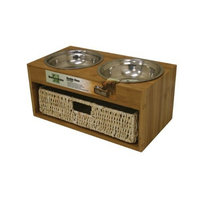 Our Pet's Our Pets Bamboo Bistro Double Dog Feeder with Basket