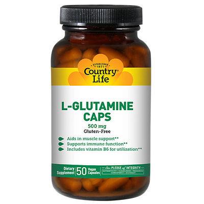 Country Life L-Glutamine Caps - 500 mg - 50 Vegetarian Capsules