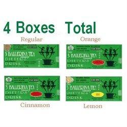 3 Ballerina Tea Extra Strength Dieters Drink (4 Flavors) - 18 Tea Bags (4 Boxes)