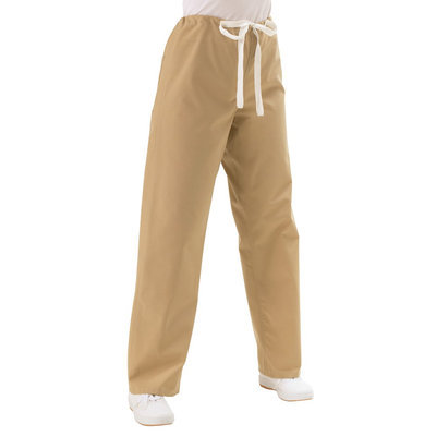 Medline Unisex Reversible Scrub Pants with Drawstring - Khaki