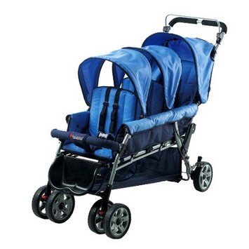 Foundations The Trio Triple Tandem Folding Stroller Blue
