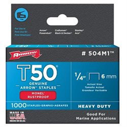 Arrow Fasteners Arrow Fastener Co. .25in. T50 Monel Staples 504M1