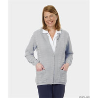 Silvert's Silverts 132600205 Quality Cardigan for Elderly Senior Womens Sweater with Pockets Silver Grey - Extra Large