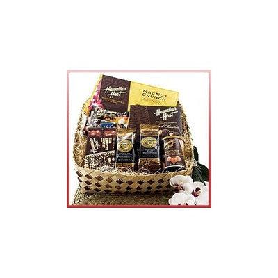 Buns of Maui Hawaiian Lauhala Prince Gift Basket Roasted Kona Coffee Blends & Macadamia Nuts Chocolate & Macadamia Candies
