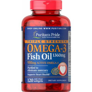 Puritan's Pride Triple Strength Omega-3 Fish Oil 1360 mg (950 mg Active Omega-3)-120 Softgels
