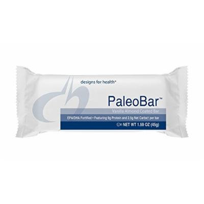 Designs for Health , PaleoBar Vanilla Almond , Great Vanilla Whey Protein Bar , Naturally Sweetened , Product Shipped Fresh with Cold Packs