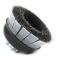 Forney 72885 Wire Cup Brush Industrial Pro Crimped with Safety Guard 5/8-Inch-11 and M14-by-2.0 Mult