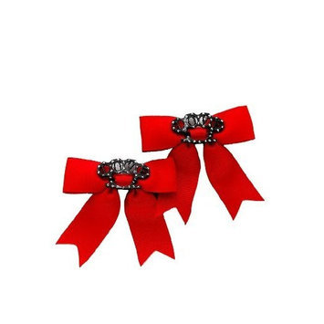 Hot Topic Red Love Brass Knuckles Ribbon Bow Hair Clips 2 Pack
