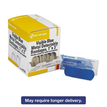 First Aid Only Adhesive Bandage, Blue Metal Detectable, Woven, 1&quot x 3&quot, 100/box
