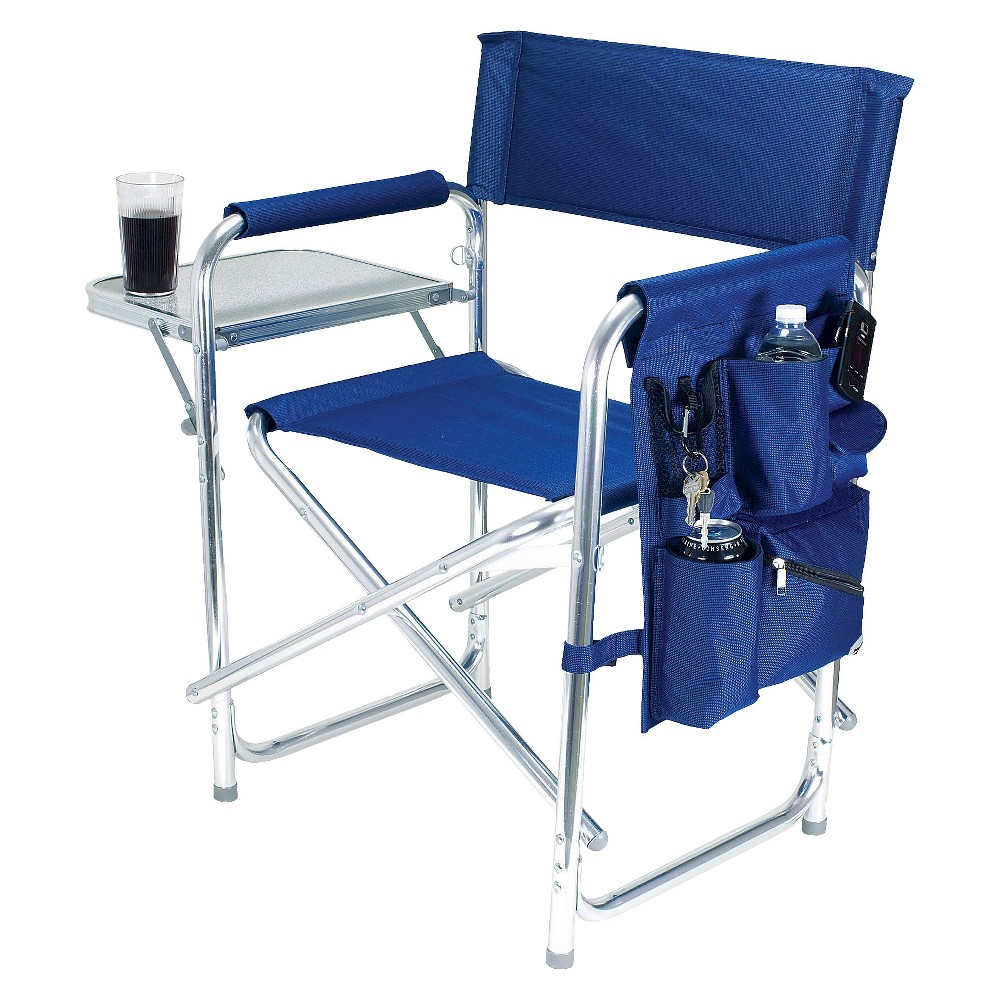 Picnic Time Sports Chair With Table and Pockets - Navy