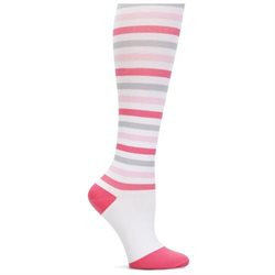 Striped Compression Trouser Sock Pink/grey/white