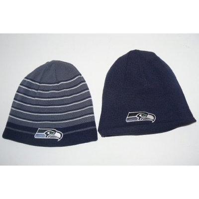 Reebok NFL Seattle Seahawks Reversible Striped Cuffless Beanie Hat Cap