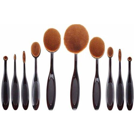 Koolulu Professional 10 Pcs soft oval toothbrush makeup brush set cream