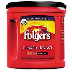 Folgers 00367EA Coffee Classic Roast Regular Ground 33.9 oz. Can