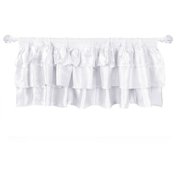 Generic Tadpoles White Ruffled Satin Window Valance