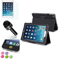 Insten INSTEN Black PU Leather Case Stand Cover+Matte Protector/Sticker For Apple iPad Air 5 5th Gen
