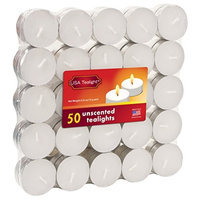 Light In The Dark USA White Unscented Tealight Candles (Pack of 50)