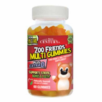 21st Century Zoo Friends Childrens Multivitamin Supplement Plus Extra D3 Multi Gummies - 60 Ea