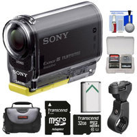 Sony Action Cam HDR-AS20 Wi-Fi 1080p HD Video Camera Camcorder with 32GB Card + Handlebar Bike Mount + Battery + Case + Kit