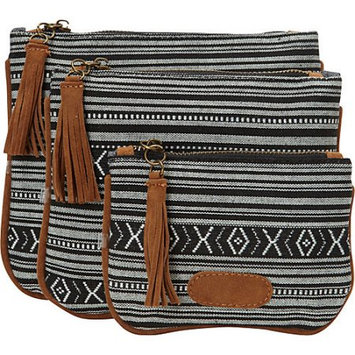 Nu-g nu G Aztec Print with Fringe 3 Pack Pouch Black - nu G Ladies Cosmetic Bags