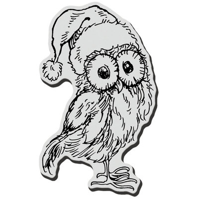 Stampendous Inc Stampendous Christmas Cling Rubber Stamp Santa Hat Owl