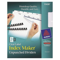 Avery 11 x 8-1/2 Index Maker Clear Label Unpunched Divider, 3-Tab-