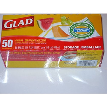 Glad Zipper Storage Bags-Quart Size, 50 Count (Pack of 9)