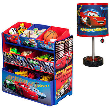 Disney - Cars Multi-Bin Toy Organizer & Table Lamp Bundle
