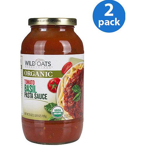 Wild Oats Organic Tomato Basil Pasta Sauce, 25 oz (Pack of 2)