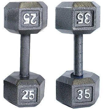 Tone Fitness Cap Barbell 35 lb Hexagon Solid Dumbbell Weight