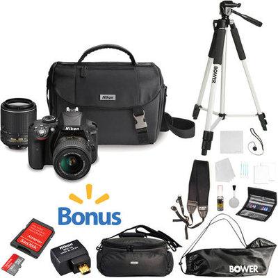 Nikon - D3300 Dslr Camera With 18-55mm And 55-200mm Vr Lenses - Black