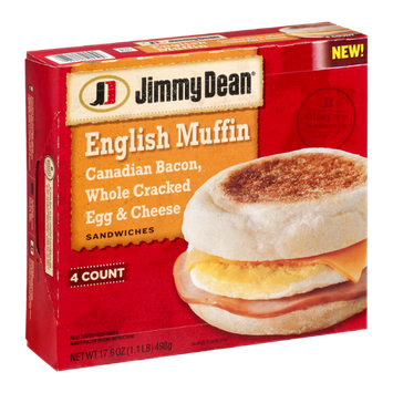 Jimmy Dean English Muffin Canadian Bacon, Whole Cracked Egg & Cheese Sandwiches - 4 CT