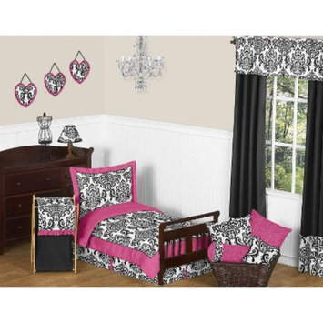 Jo Jo Designs Isabella Hot Pink, Black and White 5 pc. Toddler Bedding Set