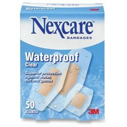 3M Nexcare Waterproof Bandages, Assorted Sizes, 50/Box