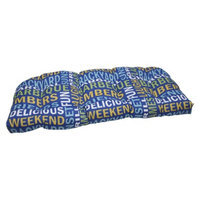 Pillow Perfect Outdoor Wicker Loveseat Cushion - Blue/Yellow Grillin