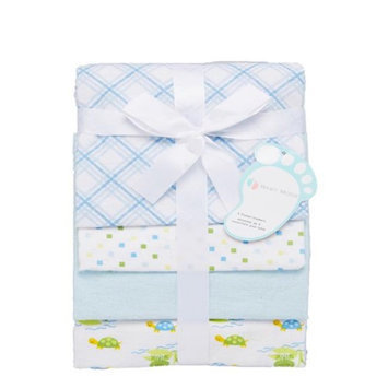 Baby Mode 28 x 32 Blue Turtles & Plaid Receiving Blankets - Set of 4