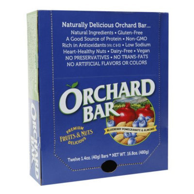 Orchard Bars Fruits & Nuts 12/1.4oz, Blueberry, Pomegranate & Almond Bar, 16.8 oz