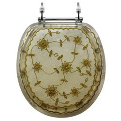 Trimmer Polyresin Toilet Seat with Laced Flowers