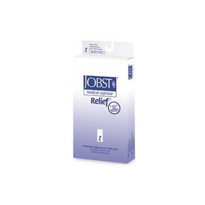 Jobst 114217 Relief 30-40 mmHg Closed Toe Thigh Highs with Silicone Top Band - Size & Color- Beige Medium
