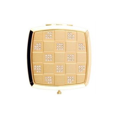 Welforth Gold Checkered w/Clear Rhinestones Square Compact Mirror - S4227GLD