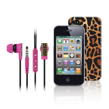 Merkury Innovations Gold Leopard Iphone 4 Headset And Case