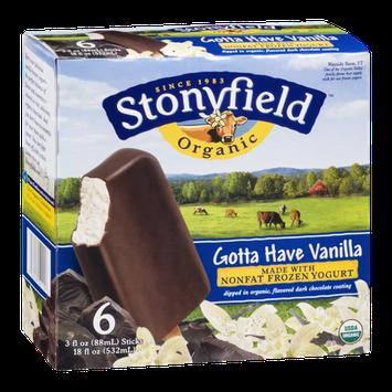 Stonyfield Organic Nonfat Frozen Yogurt gotta Have Vanilla - 6 CT